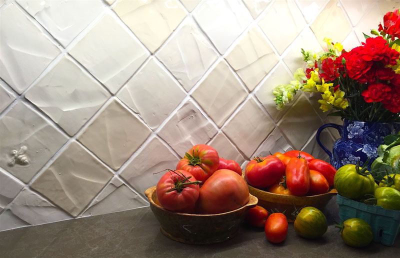 handmade white kitchen backsplash ceramic tile