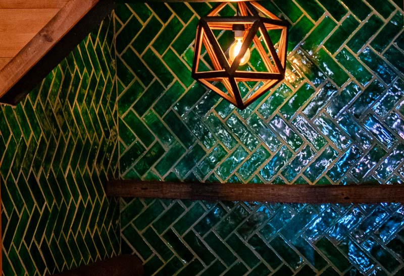 Emerald green tile installation by McMillan Interior Design