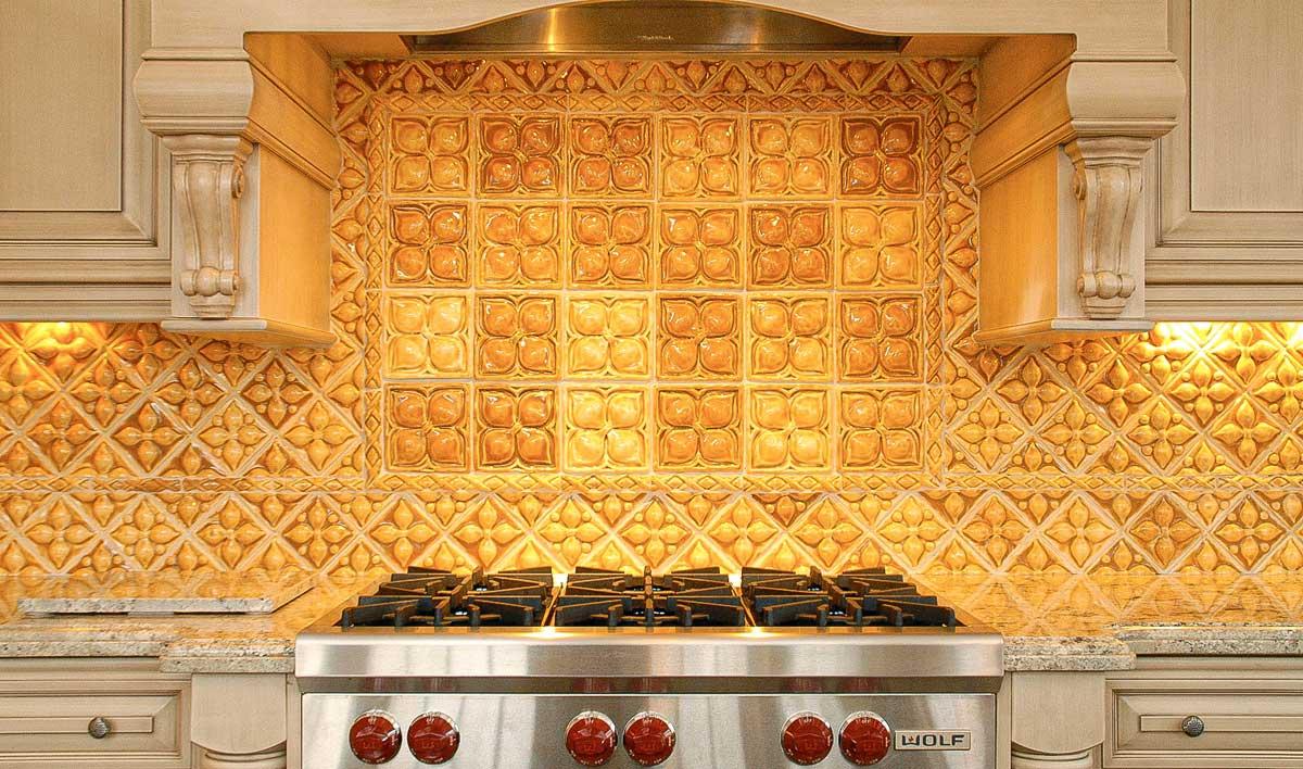 Belmont handmade decorative kitchen backsplash tiles in variety of umber glazes