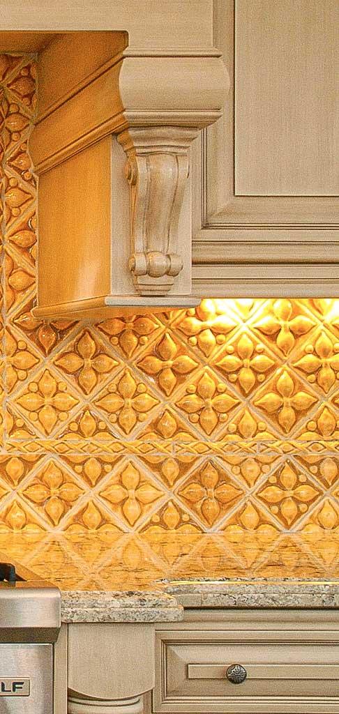 Belmont handmade decorative kitchen backsplash tiles in variety of yellow