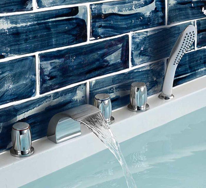 handmade bathroom tiles navy blue
