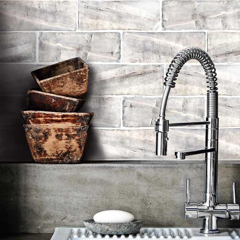 custom made tile backsplash kitchen