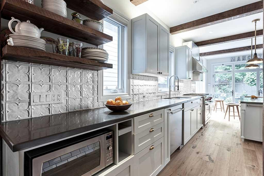 white tile backsplash kitchen