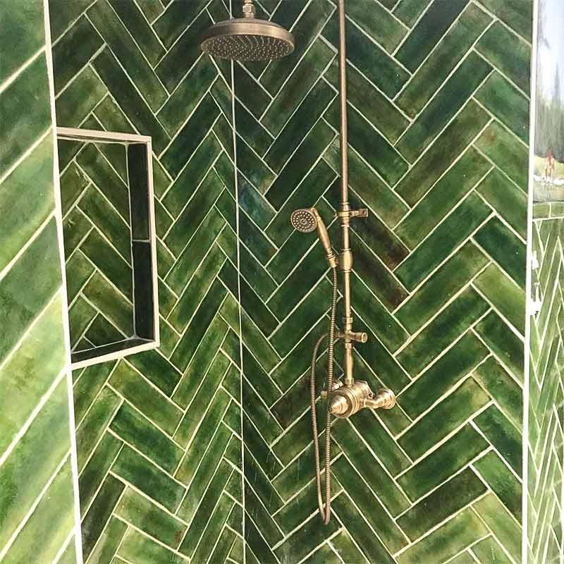 Shower Subway tile Emerald green