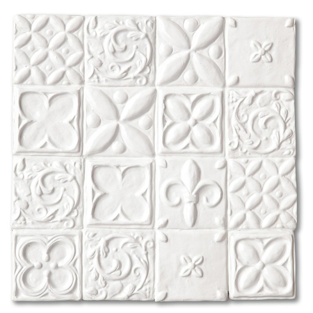 white decorative handmade tiles