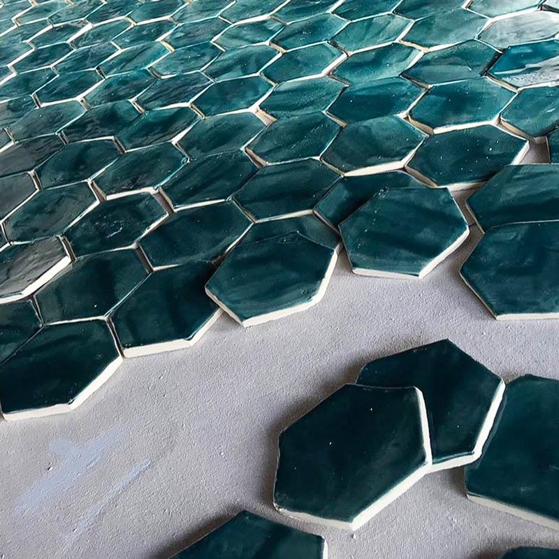 Tile-Hexagon-brushed-on-teal-glaze
