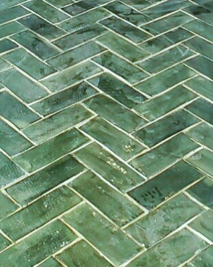Hunter green glazed 3x8 kitchen floor tiles for brownstone home in Brooklyn