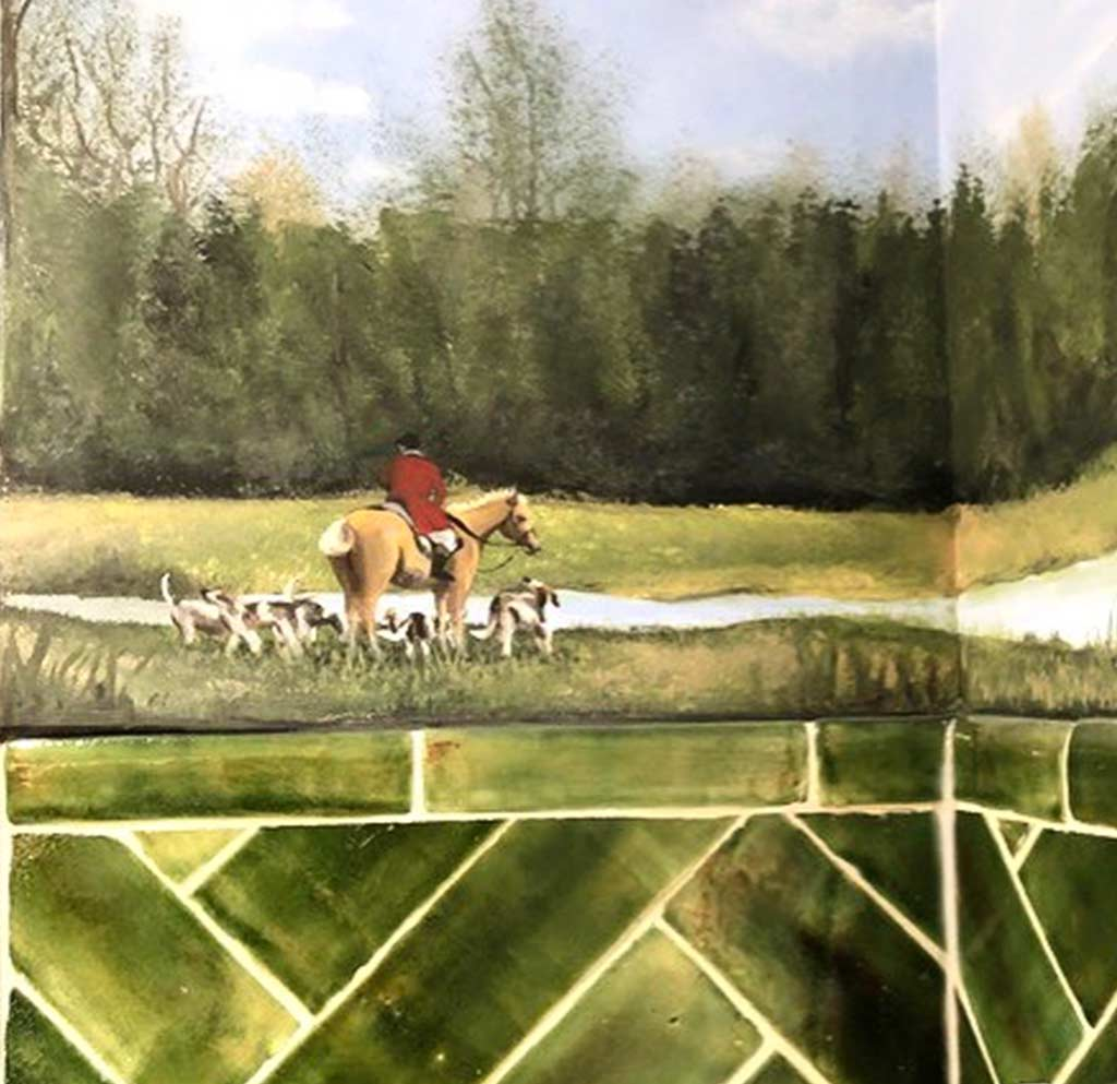 Katherine-joy-interiors-bathroom Olive Green Subway Shower Tile with murals of fox hunting