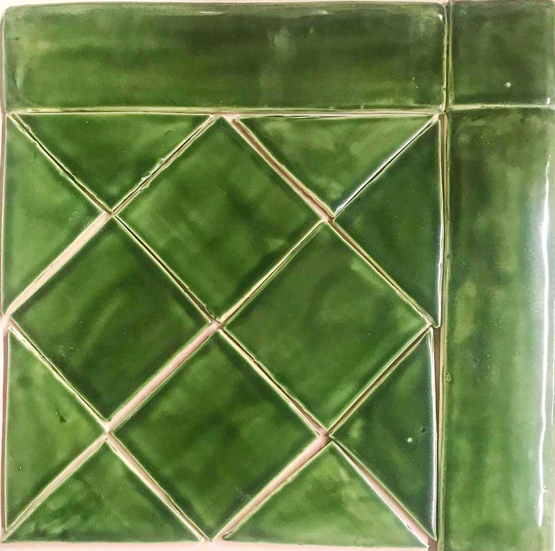 "Field tile 4"" x 4"" Holly Green Glazed Panel"